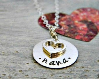 grandmother, nana, simple family necklace with one name