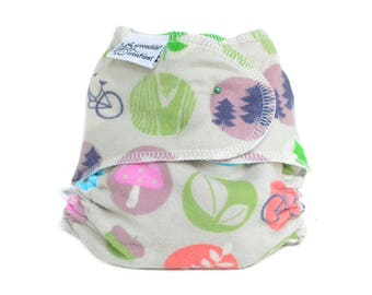 Cloth Diaper Fitted, One Size, camping, Outdoors, Flannel - Add Snaps, Hook and Loop, or Pins