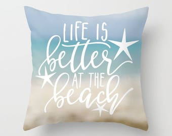 Life is Better at the Beach Pillow Cover 20x20 Blue, Abstract Ocean Print Pillow Covers 16 x 16, Beach House Decor Pillows Covers