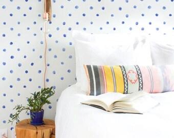 Blue watercolor dots removable wallpaper, Polka dots , Peel and Stick wallpaper, Watercolor mural,  BW022