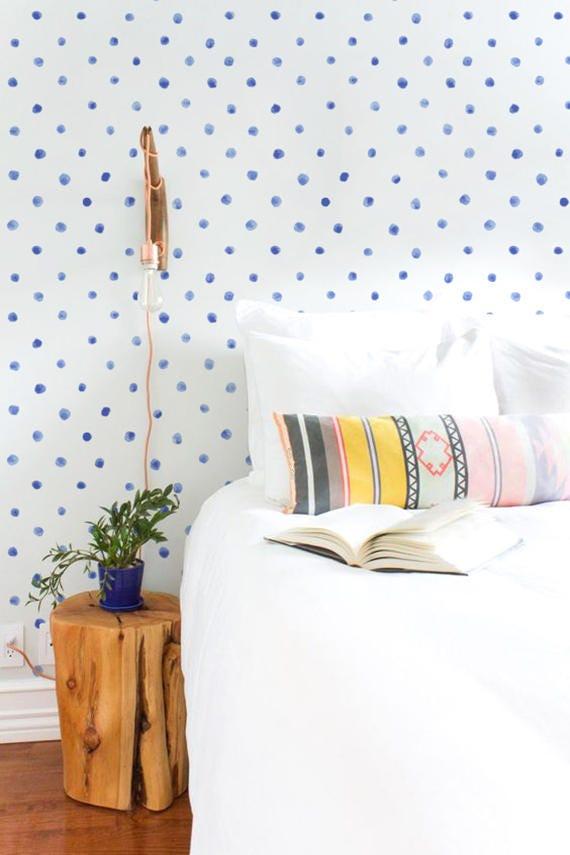 Blue Watercolor Dots Removable Wallpaper Polka Dots Peel