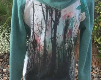 Repurposed teal hoodie, tree t-shirt recycled, women's clothing H&M hoodie