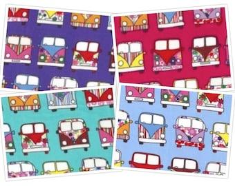 Camping Van Novelty Print Cotton Craft Fabric