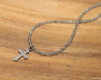Pave Diamond Cross Necklace, Diamond Cross Pendant, Sterling Silver, Genuine Diamond Jewelry