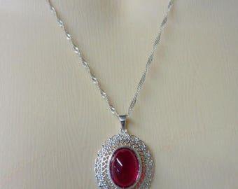 Ruby Necklace - Valentine's Necklace - Birthstone Necklace - Sterling Silver Filigree & Ruby Necklace