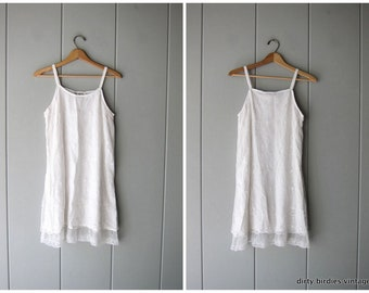Vintage 90s White Dress 90s Lace Embroidered Mini Dress Sleeveless Summer Tank Boho Dress White Slip Dress Womens Medium Small