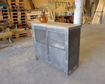 Industrial Upright Steel and Wood Media Credenza Consoles