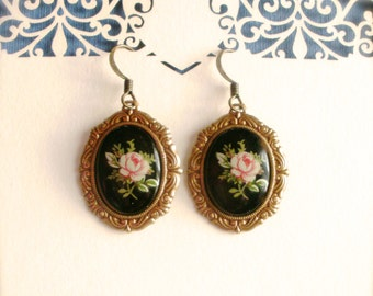 Floral Cameo Earrings, Victorian Earrings, Pink Rose on Black Cameo Earrings, Vintage Style, Cameo Jewelry, Rose Cameo, Romantic Earrings