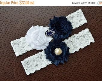 ON SALE Penn State Wedding Garter Set, Penn State Garter, Penn State Bridal Garter Set, White Lace Wedding Garter, Nittany Lions Garter
