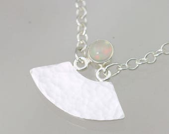 """Hammered Split Necklace with Ethiopian Opal on Sterling Silver (18"""")"""