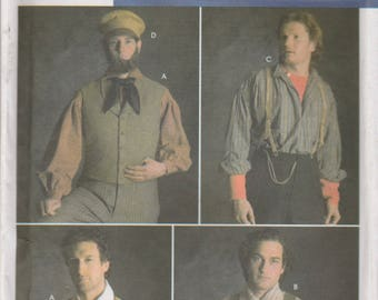 Mens' Historic Vest, Hat & Suspender Pattern Simplicity 5037 Sizes 38 - 44 Uncut