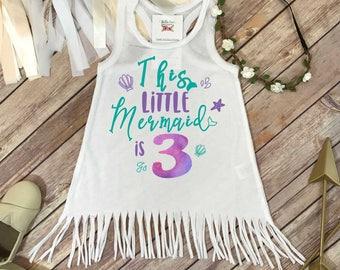 Mermaid Birthday, Third Birthday, This Little Mermaid is 3, 3rd Birthday, Mermaid Party, Mermaid Shirt, Mermaid Theme, Girl Birthday,Mermaid