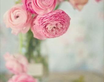 Still Life Photography, Ranunculus Floral Pink Nursery Decor Home Art Flowers Romantic Feminine Print Still Life Photo Girls Room Shabby
