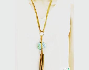 Semi-precious stone leather tassel necklace