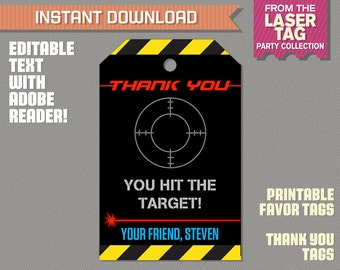 Laser Tag Party Favor Tags / Laser Tag Thank you Tag - Laser Tag Birthday - Laser Tag Party - Edit and print at home with Adobe Reader