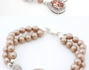 Blush Bridal Jewelry Set, Champagne Pearl Earrings and Bracelet Set, Rose Gold Wedding Set, Rose Quartz Jewelry for Bride, Blush Wedding