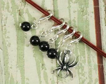 Knitting/Progress Marker Set of 5 Black with Spider Charm