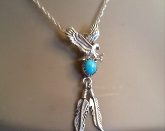 Sterling silver native American turquoise eagle and feathers