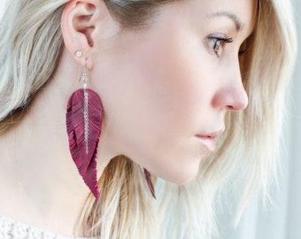 Dark red Feather Leather Earrings, light purple layered earrings, tribal Earrings, Boho earrings, dangle earrings, long earrings
