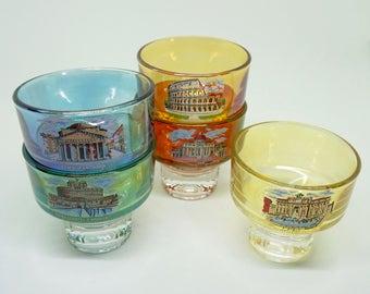 "Iridescent; Liquor Glasses; Set of Five; Approx. 2.75"" 7cm x 2.5"" 6.5cm, Scenes of Rome Italy !!!"