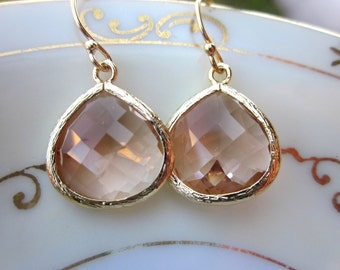 Large Champagne Blush Earrings Gold Plated Large Peach Pink Pendant - Wedding Earrings - Bridal Earrings - Bridesmaid Earrings