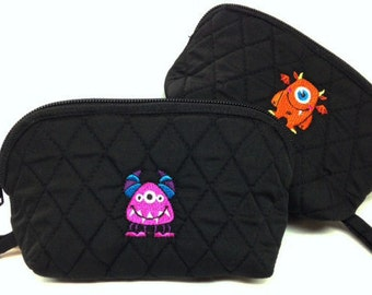 Monster embroidery on quilted pouches!