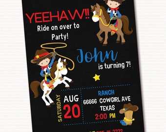 Cowboy Invitation, Cowboy Invite, Cowboy Birthday Invitation,  Personalized Invitation, PRINTABLE