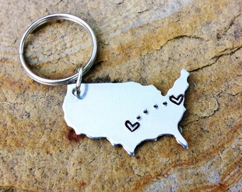 CUSTOM Long Distance Relationship KEYCHAIN - USA or State Map_#STATEtrl