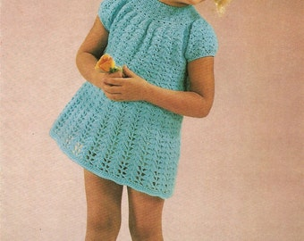 "PDF Crochet Pattern Girl's Dress 4 Ply (24-29"") Instant Download"