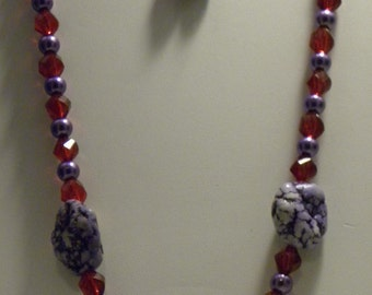 Red Hat Lady - purple and red necklace and earrings set