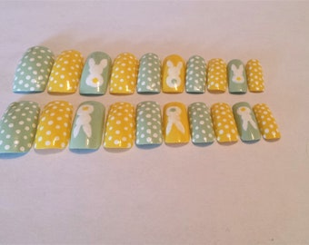 Green/Yellow Bunny Full cover artificial nail set-Long length, square tips