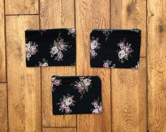 Black Floral Rose Pouches w/ Vintage Zippers