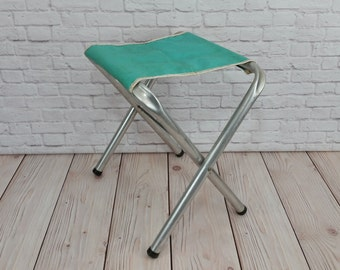 Vintage Folding Aluminum Camp Stool With Vinyl Seat Great Portable Seating Perfect Small End Table