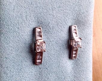 925 CZ earrings, cubic zirconia earrings, sterling silver, sparkling, 925 silver stamped, post earrings, dangle