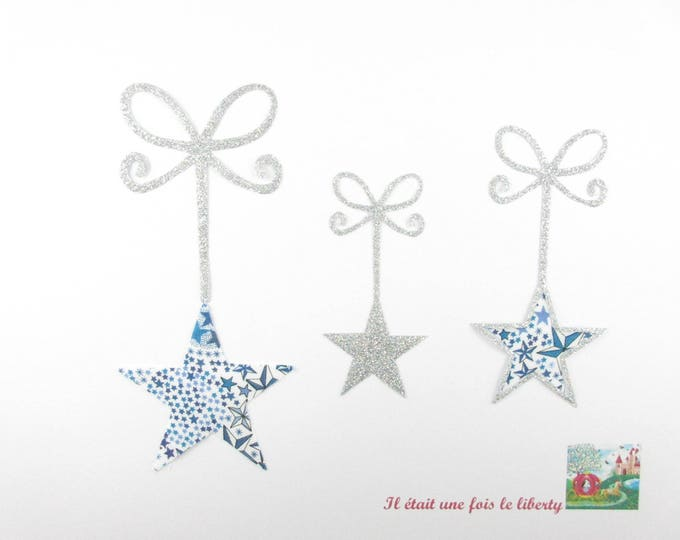 Patch iron on fusible appliqué stars liberty Adelajda blue, liberty badges stars pattern star applied stars, iron on