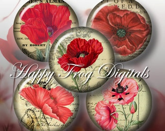 Poppies -  12, 14, 16, 18, 20 mm circles - Digital Collage Sheet - 097 HFD - Printable Download - Instant Download