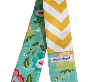 Teal and yellow chevron Camera Strap Cover
