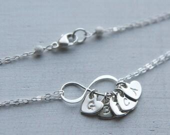Personalized Infinity Heart Initial Bracelet, Sterling Silver Infinity Jewelry, Custom Infinity Modern Mom Bracelet Gift Mother's Day