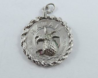Hawaii with Pineapple in the Center Sterling Silver Charm or Pendant.