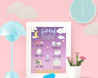 Bedtime Routine Chart, A4, printable, chore chart, children routine