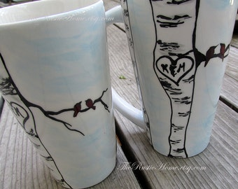 Birds and birch tree heart mug initials carved in heart wedding mug couples mug love traditional 9th anniversary gift