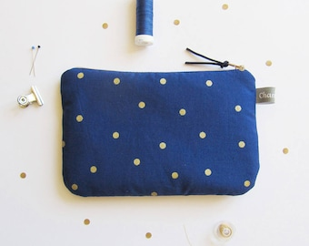 Zippered padded Blue Navy with gold dots