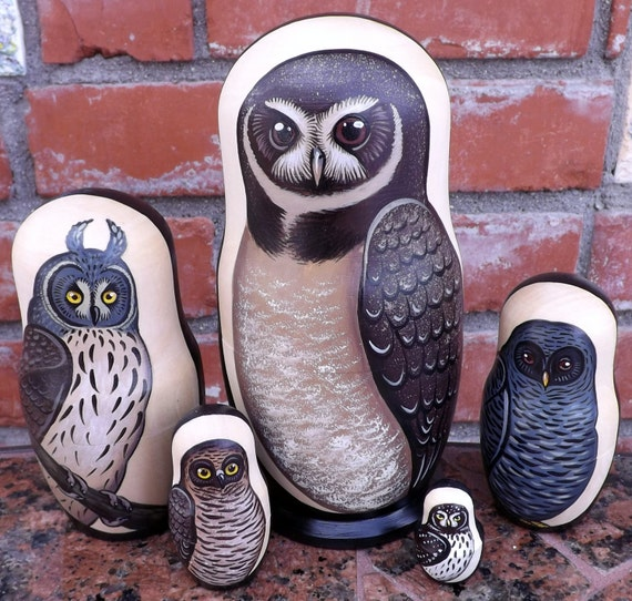 Owls of Latin America on the Set of Five Russian Nesting Dolls. # 2017