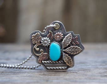 Kingman Turquoise Sterling Silver Necklace . Flower Basket . Hand Forged . Sterling Necklace.Rustic. Necklace. Mixed Metals