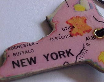 CHARM NECKLACE Made w/VINTAGE Puzzle Piece~State of New York~from Vintage United States Map Puzzle~find your City~Unique & OoAK