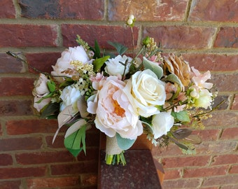 Blush Pink Rose Wedding Bouquet, with Ivory... Ready to Ship!