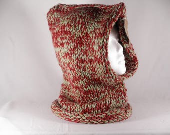 Snood #4023, scarf oversized knit,hooded scarf, winter knit cowl, mens hooded scarf, oversizedred scarf, oversized loop scarf, winter cowl