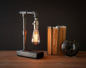 Edison Lamp/Rustic Decor/Unique Table Lamp/Industrial Lighting/Steampunk  Light/