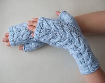 Knitted of 100 % baby MERINO wool. Light BLUE fingerless gloves, wrist warmers, fingerless mittens. Handmade gloves. Cable gloves.