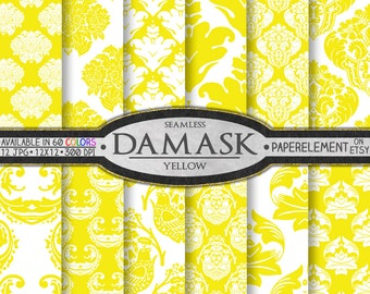 Yellow Damask Scrapbook Paper Set - Printable Digital Backgrounds - Instant Download